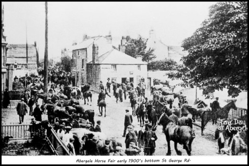 From the Dennis Parr Collection, here's a photo taken at the bottom of St George's Rd, at the beginning of the 20th Century of Abergele Horse Fair Day